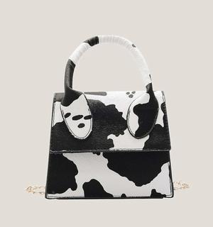 Black & White Cow Print Mini Bag | JVC BEAUTY