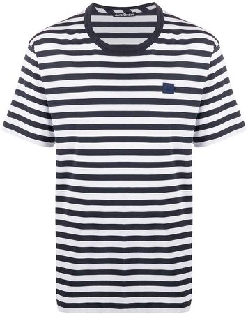 face patch striped T-shirt