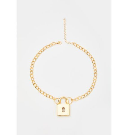 Lock Pendant Chain Link Necklace Gold   Dolls Kill