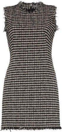 Sleeveless frayed edge tweed mini dress