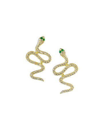 Sphera Milano Crystal Snake Earrings, Gold