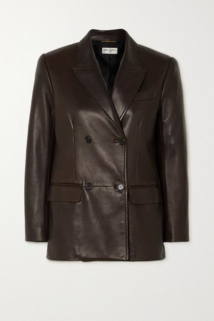Double-breasted Leather Blazer - Brown