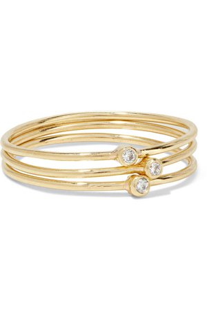 Jennifer Meyer | Set of three 18-karat gold diamond rings | NET-A-PORTER.COM