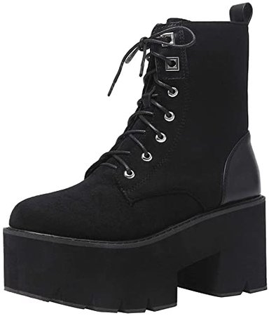 Amazon.com | CYNLLIO Fashion Wsdges Heel Platform Combat Ankle Booties Women's Lace up Studded Motorcycle Boots Mid Calf Goth Boots | Ankle & Bootie
