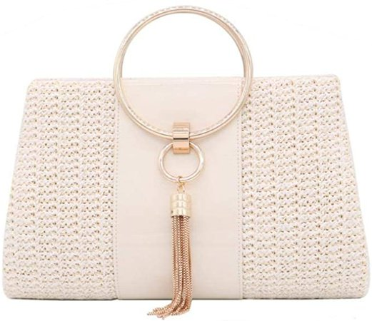 Straw Clutch Handbag, Women Straw Tote Purse Envelope Bag Wallet Summer Woven Beach Bag (White): Amazon.co.uk: Clothing