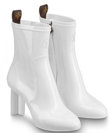 White LV Heeled Boots