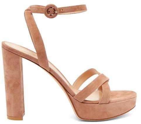 Poppy 85 Suede Platform Sandals - Womens - Nude