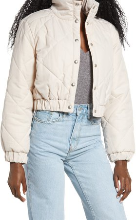 Diamond Quilted Crop Puffer Jacket