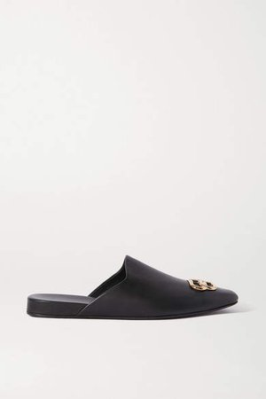 Cosy Bb Logo-embellished Leather Slippers - Black