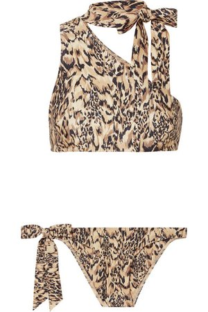 Zimmermann | Eyes on Summer one-shoulder leopard-print bikini | NET-A-PORTER.COM