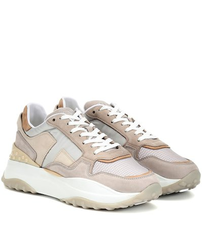 Leather and nubuck sneakers