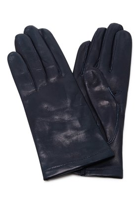 Maison Fabre Navy Floods Leather Gloves