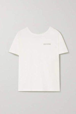 Appliqued Cotton-jersey T-shirt - White