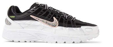 P-6000 Se Leather And Mesh Sneakers - Black