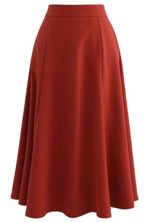 Seam Detail Flare Hem Midi Skirt in Red - Retro, Indie and Unique Fashion