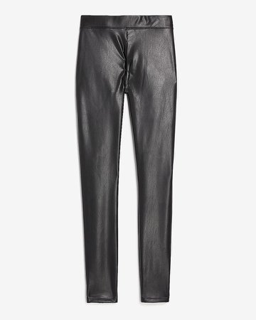 High Waisted Vegan Leather Stretch Ankle Leggings