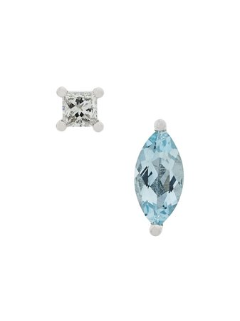 Blue & white Delfina Delettrez 18kt white gold Dots Solitaire aquamarine and diamond earrings - Farfetch
