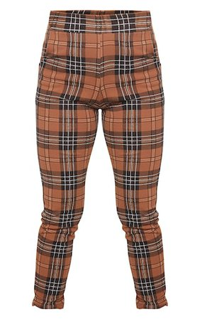 Brown Check Skinny Trousers - New In   PrettyLittleThing
