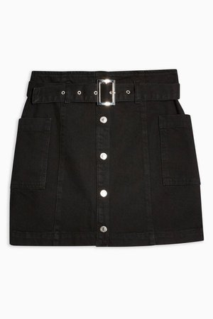 Button Down Belted Denim Skirt | Topshop black