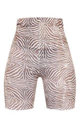 Brown Zebra Print Cycle Short   Shorts   PrettyLittleThing