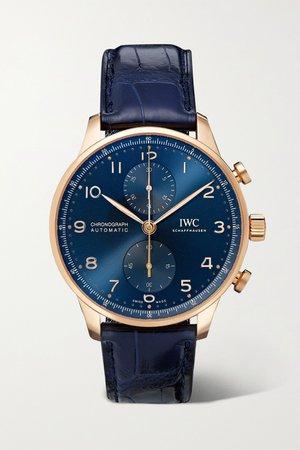Rose gold Portugieser Automatic Chronograph Boutique Edition 41mm 18-karat red gold and alligator watch | IWC SCHAFFHAUSEN | NET-A-PORTER