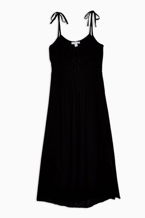Black Ruched Front Midi Dress | Topshop