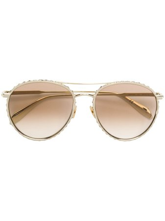 Alexander Mcqueen Eyewear Crystal Embellished Sunglasses AM0179S Gold | Farfetch