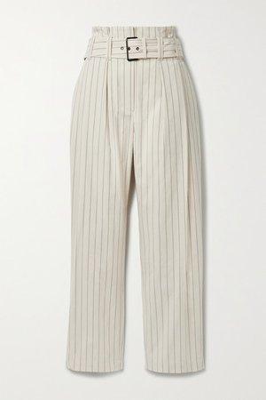 Regimental Belted Pleated Pinstriped Cotton-blend Straight-leg Pants - Beige