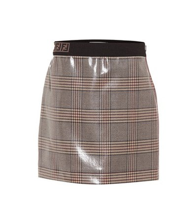 Coated checked wool miniskrt