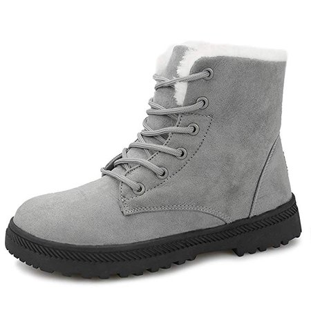 Snowball Boots for Women Outdoor Winter Snow Boots Suede Cotton Warm Fur Lined Ankle Booties Lace Up Flat Platform Shoes Grey