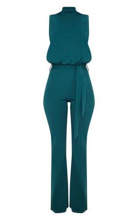 Emerald Green Scuba Tie Waist Jumpsuit | PrettyLittleThing
