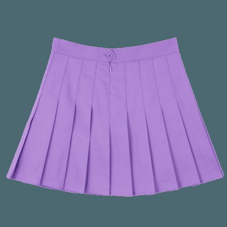purple mini skirt