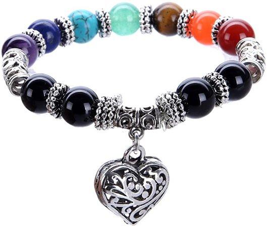Amazon.com: VIKI98 10MM 7 Chakra Religion Healing Balance Stone Beaded Bracelet Yoga Reiki Charm Heart Bracelets For Women: Jewelry