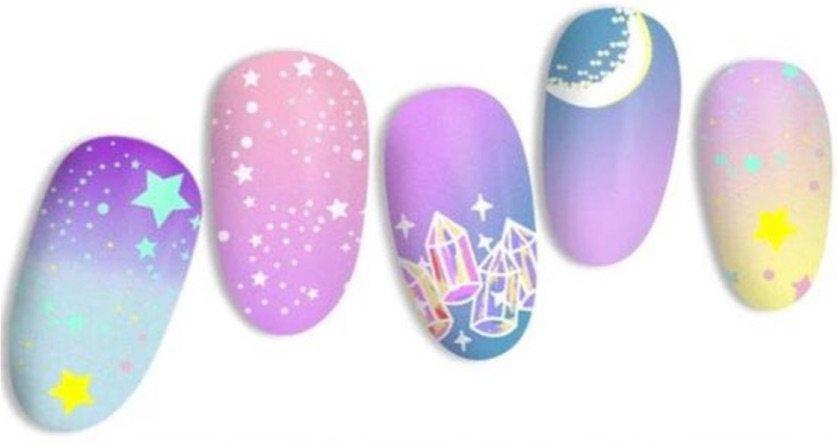 pastel celestial nail stamping