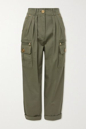 Pleated Cotton-blend Twill Cargo Pants - Army green