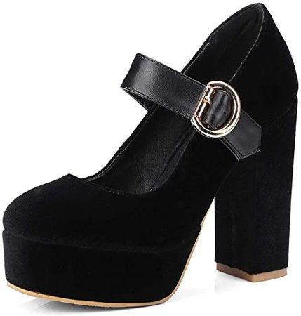 Amazon.com | MIOKE Women's Platform Chunky High Block Heel Pumps Round Toe Comfort Buckle Strap Mary Jane Dress Shoes Black | Pumps