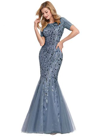 Amazon.com: Women's Illusion Embroidery Elegant Mermaid Evening Dress Blue Haze US12: Clothing