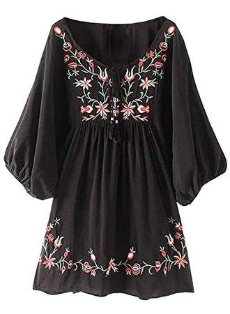 futurino Women's Bohemian Embroidery Floral Tunic Shift Blouse Flowy Mini Dress at Amazon Women's Clothing store: