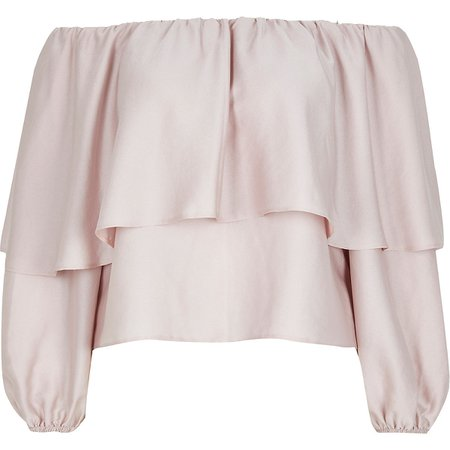 Pink long sleeve frill bardot top | River Island