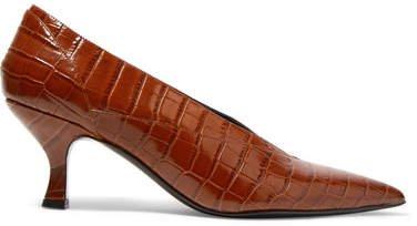 Rafaella Glossed Croc-effect Leather Pumps - Brown