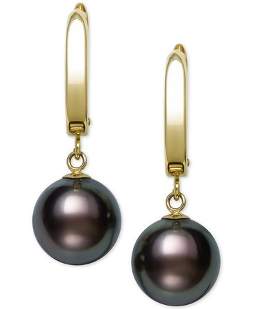 Belle de Mer 14k Gold Cultured Tahitian Pearl Drop Earrings