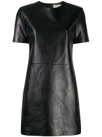 Saint Laurent Leather T-Shirt Dress 584499YC2QO Black | Farfetch