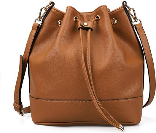 Drawstring Bucket Bag for Women Large Crossbody Purse and Shoulder Tote Handbag Brown: Amazon.co.uk: Shoes & Bags
