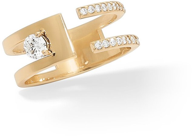 Stacked Double Band Diamond Ring