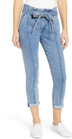 Paperbag Waist Crop Skinny Jeans