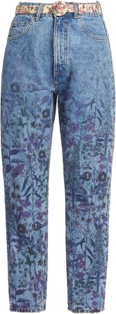 Luisa Beccaria Floral High-Rise Skinny Jeans
