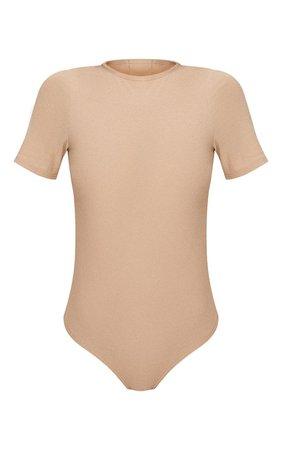 Stone Crepe Short Sleeve Thong Bodysuit | PrettyLittleThing USA