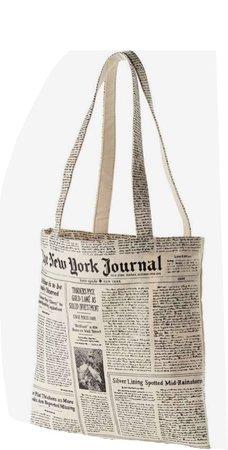 KATE SPADE NEW YORK newspaper print canvas shopping tote