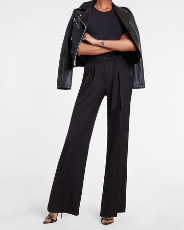 High Waisted Belted Twill Wide Leg Pant