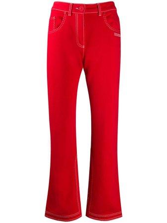 Off-White Contrast-Stitch Kick-Flare Jeans OWYA004S20DEN0012500 Red | Farfetch